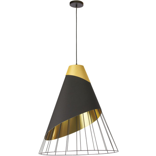 Dainolite Lighting  FAR-1619-698 1 Light Black Pendant with Gold Fabric Cap and Black on Gold Hardback Shade
