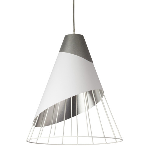 Dainolite Lighting  FAR-2428-691 1 Light White Pendant with Steel Fabric Cap and White on Silver Hardback Shade