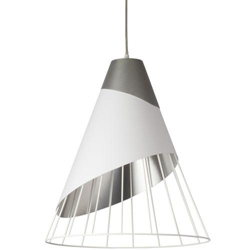 Dainolite Lighting  FAR-2428-691 1 Light White Pendant with Steel Fabric Cap and White on Silver Hardback Shade