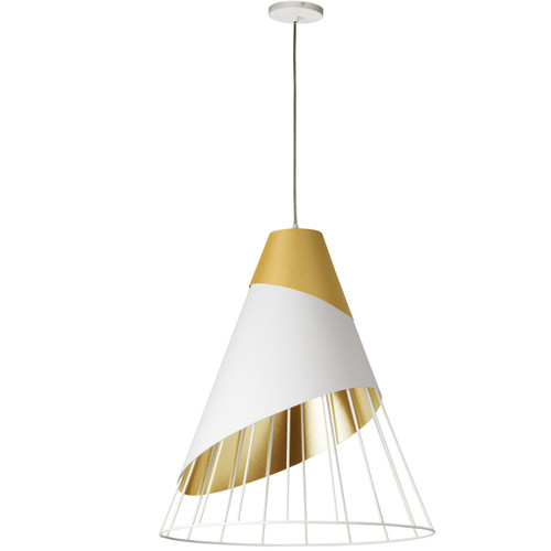 Dainolite Lighting  FAR-2428-692 1 Light Gold Pendant with Gold Fabric Cap and White on Gold Hardback Shade