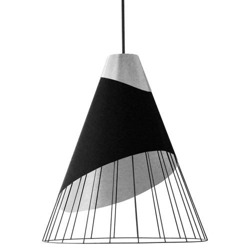 Dainolite Lighting  FAR-2428-697 1 Light Black Pendant with Steel Fabric Cap and Black on Silver Hardback Shade