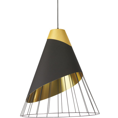 Dainolite Lighting  FAR-2428-698 1 Light Black Pendant with Gold Fabric Cap and Black on Gold Hardback Shade