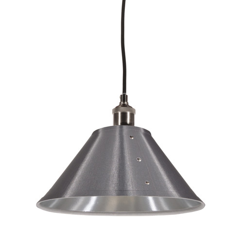 Dainolite Lighting  FAY-121P-SV 1 Light Pendant, Empire Shade with Chrome Rivets, Satin Chrome Finish, Platinum on Silver Fabric