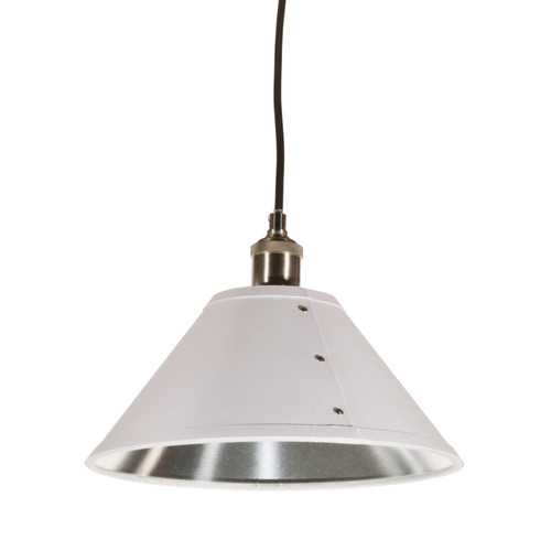 Dainolite Lighting  FAY-121P-WH 1 Light Pendant, Empire Shade with Chrome Rivets, Satin Chrome Finish, White on Silver Fabric