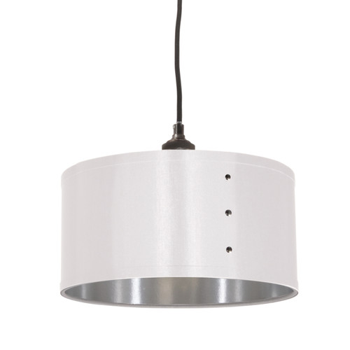Dainolite Lighting  FAY-131P-WH 1 Light Pendant, Drum Shade with Chrome Rivets, Satin Chrome Finish, White on Silver Fabric