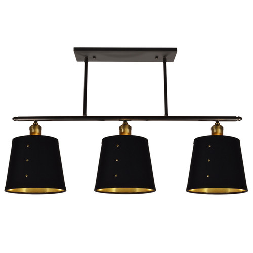 Dainolite Lighting  FAY-343HP-BK 3 Light Horizontal Pendant, Tapered Drum Shade with Brass Rivets, Vintage Steel Finish, Black on Gold Fabric