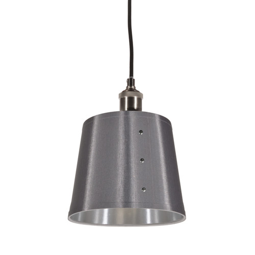 Dainolite Lighting  FAY-81P-SV 1 Light Pendant, Tapered Drum Shade with Chrome Rivets, Satin Chrome Finish, Platinum on Silver Fabric