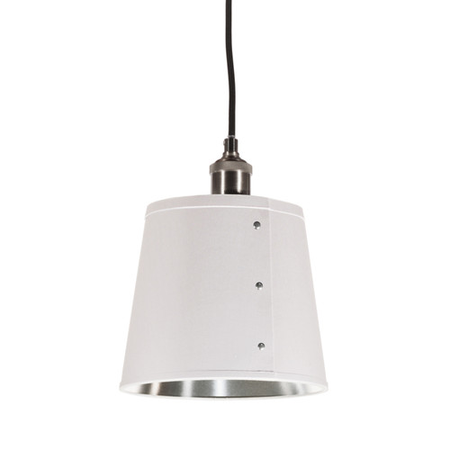 Dainolite Lighting  FAY-81P-WH 1 Light Pendant, Tapered Drum Shade with Chrome Rivets, Satin Chrome Finish, White on Silver Fabric