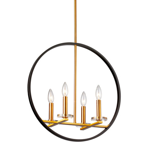 Dainolite Lighting  FIO-194P-MB-VB 4 Light Incandescent Pendant, Matte Black and Vintage Bronze Finish