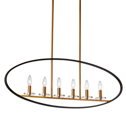 Dainolite Lighting  FIO-366HP-MB-VB 6 Light Incandescent Horizontal Pendant, Matte Black and Vintage Bronze Finish