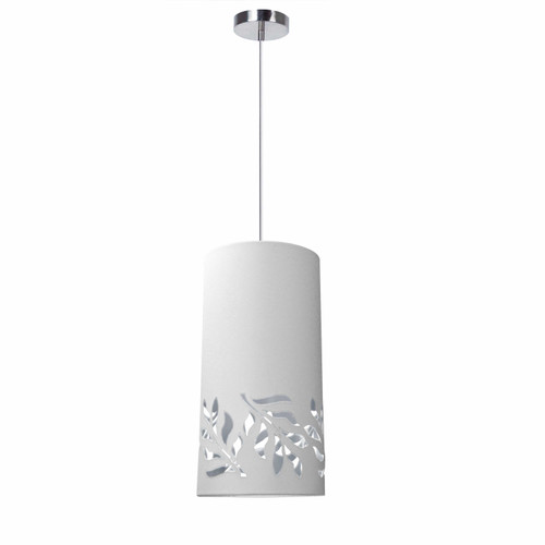 Dainolite Lighting  FLO-1P-691 1 Light Flora Pendant JTone White Silver Polished Chrome