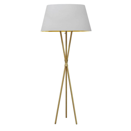 Dainolite Lighting  GAB-601F-AGB-692 1 Light 3 Legged Aged Brass Floor Lamp, with White/Gold Shade