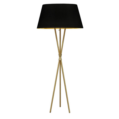 Dainolite Lighting  GAB-601F-AGB-698 1 Light 3 Legged Aged Brass Floor Lamp, with Black-Gold Shade