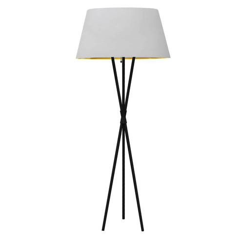 Dainolite Lighting  GAB-601F-MB-692 1 Light 3 Legged Matte Black Floor Lamp, with White/Gold Shade