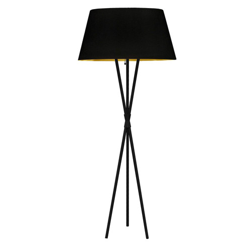Dainolite Lighting  GAB-601F-MB-698 1 Light 3 Legged Matte Black Floor Lamp, with Black-Gold Shade
