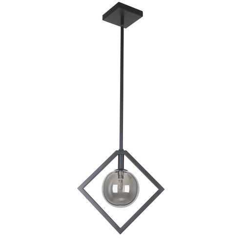 Dainolite Lighting  GLA-121P-MB 1 Light Halogen Pendant Matte Black Finish with Smoked Glass