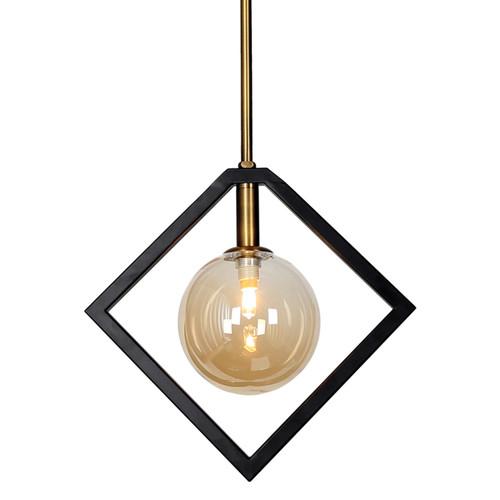 Dainolite Lighting  GLA-121P-MB-VB 1 Light Pendant, Matte Black & Vintage Bronze Finish, Champagne Glass