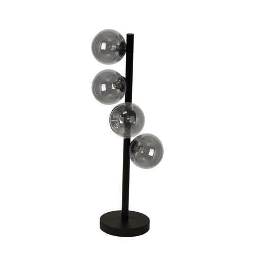 Dainolite Lighting  GLA-204T-MB 4 Light Halogen Table Lamp, Matte Black Finish with Smoked Glass