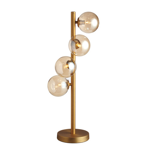 Dainolite Lighting  GLA-204T-VB 4 Light Halogen Table Lamp, Vintage Bronze Finish with Cognac Glass