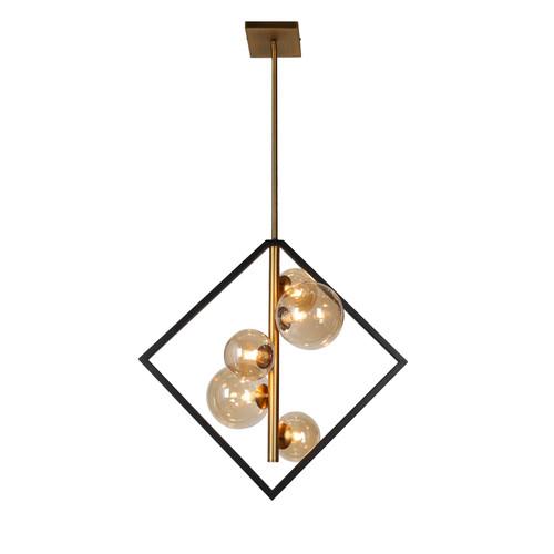 Dainolite Lighting  GLA-215P-MB-VB 5 Light Pendant, Matte Black / Vintage Bronze Finish, Champagne Glass