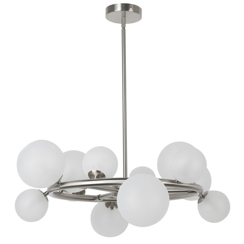 Dainolite Lighting  GLA-2812C-PC 12 Light Halogen Round Chandelier, Polished Chrome Finish with White Glass