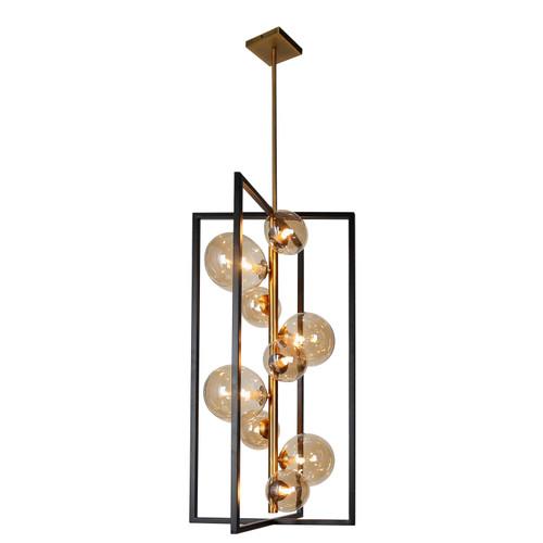 Dainolite Lighting  GLA-309P-MB-VB 9 Light Pendant, Matte Black / Vintage Bronze Finish, Champagne Glass