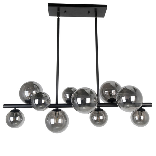 Dainolite Lighting  GLA-3110HP-MB 10 Light Halogen Horizontal Pendant Matte Black Finish with Smoked Glass