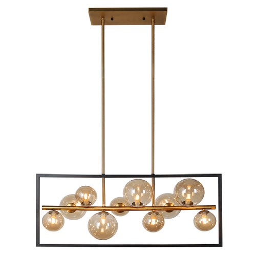 Dainolite Lighting  GLA-3310HP-MB-VB 10 Light Horizontal Pendant, Matte Black / Vintage Bronze Finish, Champagne Glass