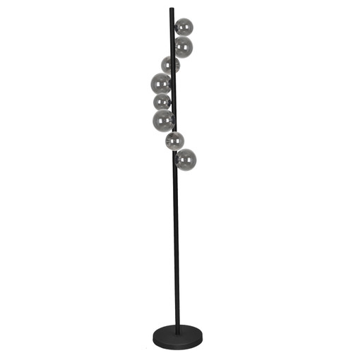 Dainolite Lighting  GLA-638F-MB 8 Light Halogen Floor Lamp Matte Black Finish with Smoked Glass