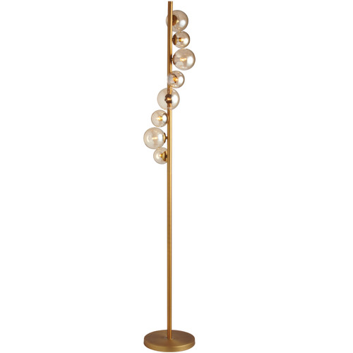 Dainolite Lighting  GLA-638F-VB 8 Light Halogen Floor Lamp, Vintage Bronze Finish with Cognac Glass