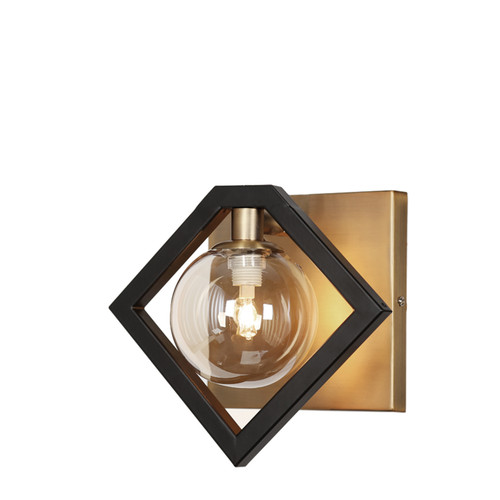 Dainolite Lighting  GLA-91W-MB-VB 1 Light Wall Sconce, Matte Black & Vintage Bronze Finish, Champagne Glass