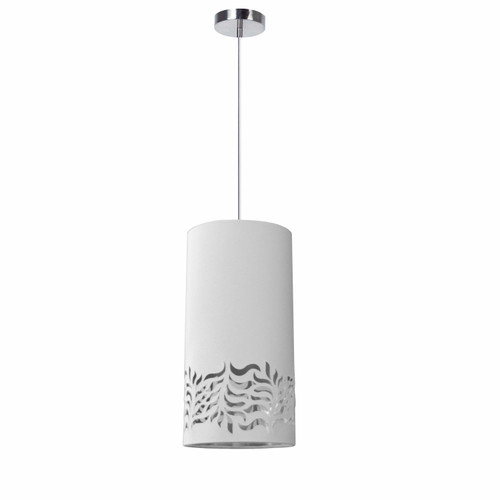Dainolite Lighting  GLO-1P-691 1 Light Glora Pendant JTone White Silver Polished Chrome