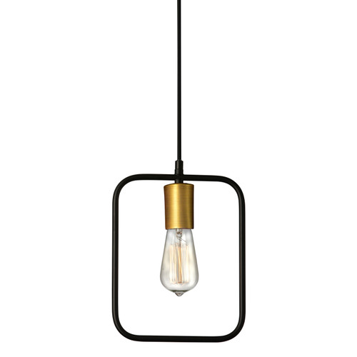 Dainolite Lighting  GMT-101P-MB-VB 1 Light Pendant, Matte Black & Vintage Bronze Finish