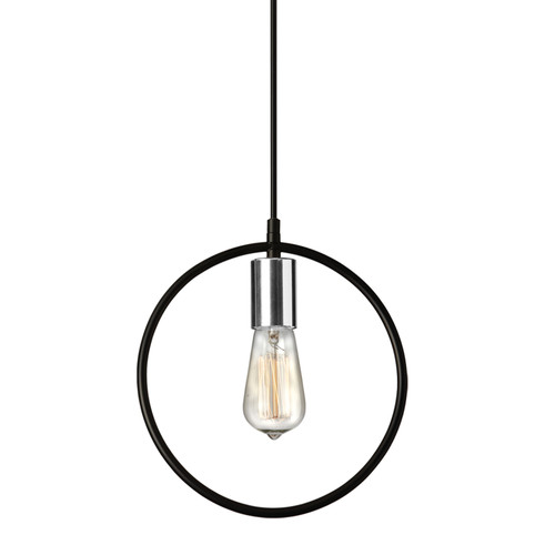 Dainolite Lighting  GMT-111P-MB-PC 1 Light Pendant, Matte Black & Polished Chrome Finish