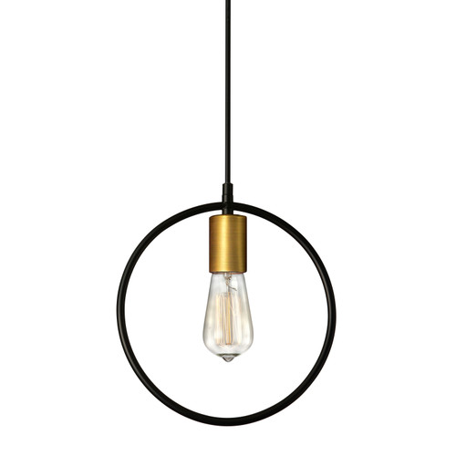 Dainolite Lighting  GMT-111P-MB-VB 1 Light Pendant, Matte Black & Vintage Bronze Finish