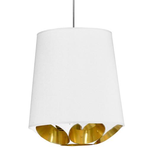 Dainolite Lighting  HAD-M-692 1 Light Hadleigh Pendant White on Gold, Medium White