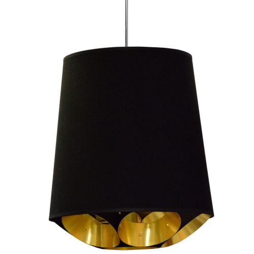 Dainolite Lighting  HAD-M-698 1 Light Hadleigh Pendant Black on Gold, Medium Black