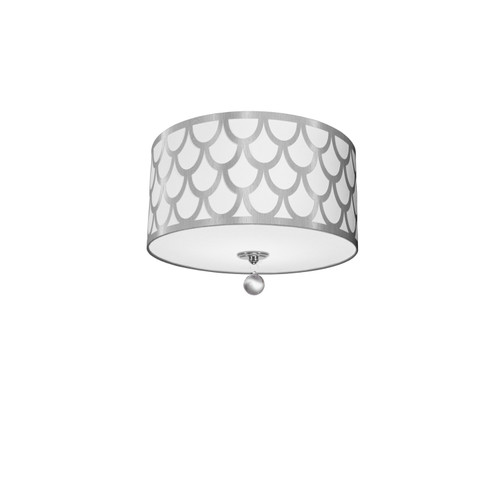 Dainolite Lighting  HAN-153FH-PC-SV 3 Light Flush Mount, Polished Chrome Finish, White & Silver Shade