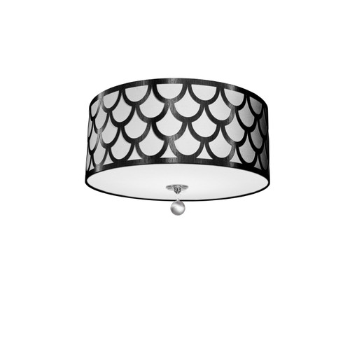 Dainolite Lighting  HAN-184FH-PC-BW 4 Light Flush Mount, Polished Chrome Finish, Black & White Shade
