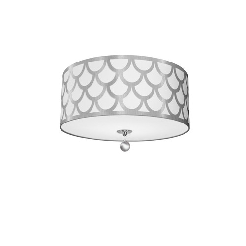 Dainolite Lighting  HAN-184FH-PC-SV 4 Light Flush Mount, Polished Chrome Finish, White & Silver Shade