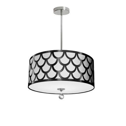 Dainolite Lighting  HAN-194P-PC-BW 4 Light Pendant, Polished Chrome Finish, Black & White Shade