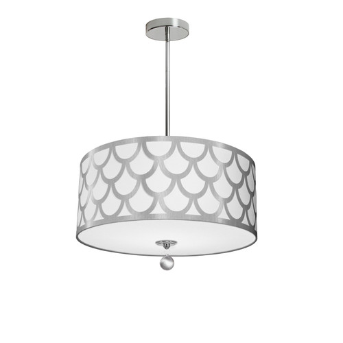 Dainolite Lighting  HAN-194P-PC-SV 4 Light Pendant, Polished Chrome Finish, White & Silver Shade