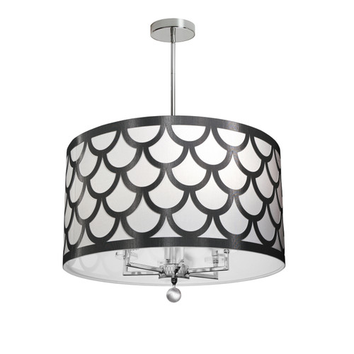 Dainolite Lighting  HAN-226C-PC-BW 6 Light Chandelier, Polished Chrome Finish, Black & White Shade