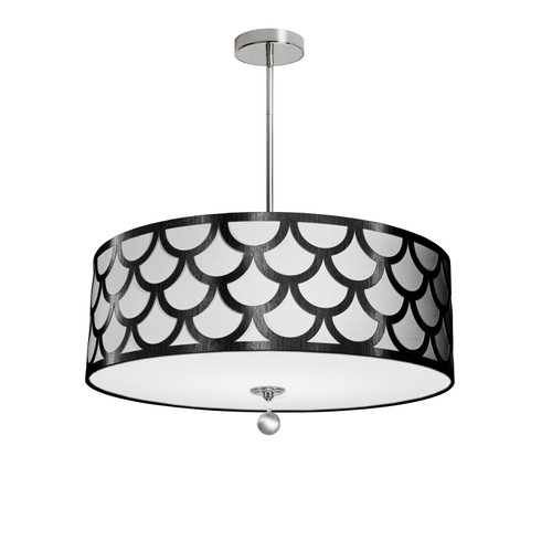 Dainolite Lighting  HAN-244P-PC-BW 4 Light Pendant, Polished Chrome Finish, Black & White Shade