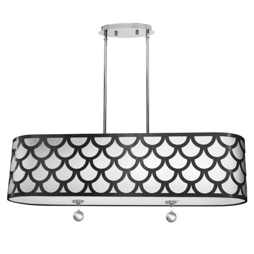 Dainolite Lighting  HAN-344HP-PC-BW 4 Light Oval Pendant, Polished Chrome Finish, Black & White Shade