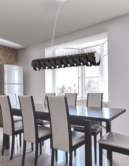 Dainolite Lighting  HAR-409HP-BK 9 Light Horizontal Pendant, Black Aluminum Ribbons