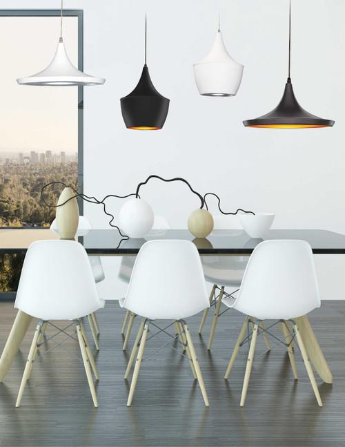 Dainolite Lighting  HKI-141P-WH 1 Light Pendant, Matte White / Silver