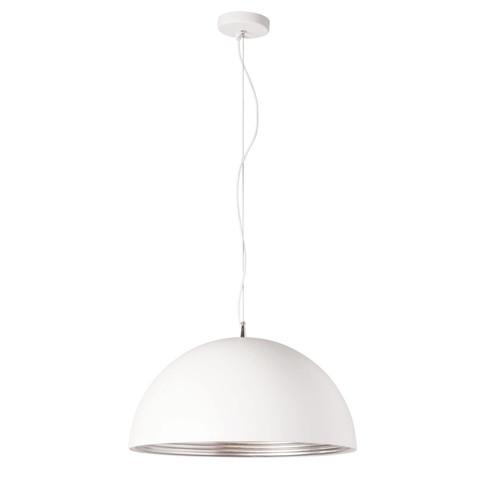 Dainolite Lighting  HKI-201LP-WH 1 Light Pendant, Matte White / Silver
