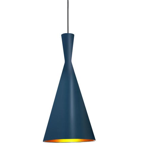 Dainolite Lighting  HKI-81P-BL-GLD 1 Light Incandescent Pendant Blue Finish with Gold Pebbled Interior