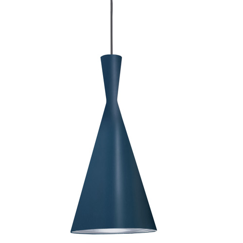 Dainolite Lighting  HKI-81P-BL-SV 1 Light Incandescent Pendant Blue Finish with Silver Pebbled Interior